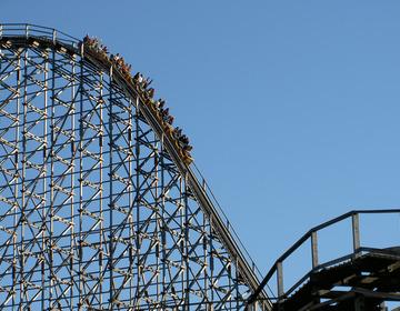 Thumb roller coaster ride amusement park