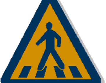 Thumb walking pedestrian sign
